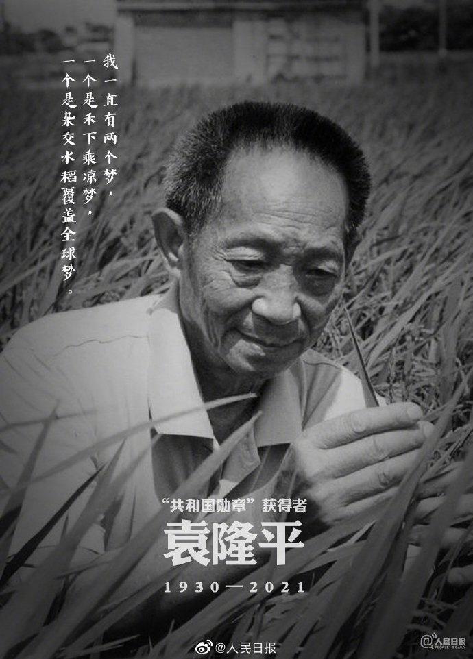 杂交水稻之父袁隆平逝世(2021年5月22日新闻简讯)